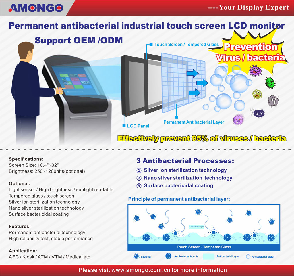 Worrying dangerous bacteria(COVID-19) on public touchscreen? Try with Amongo's new antibacterial touchscreen monitors!!!
